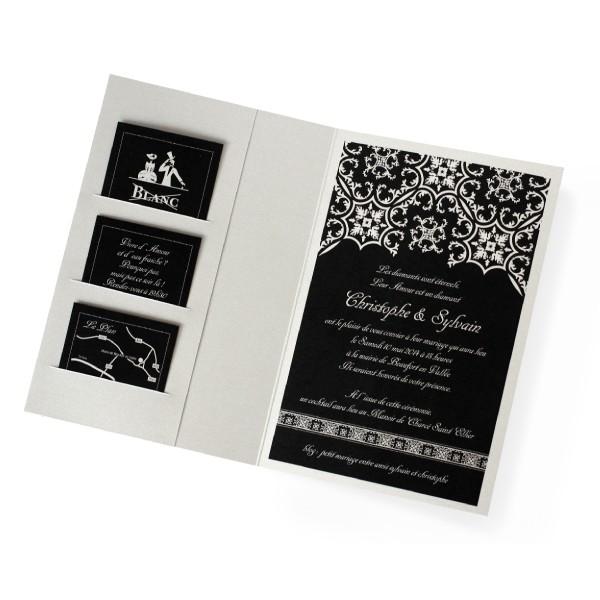 Préférence Faire part mariage noir et blanc gris / argent - Invited To RF37