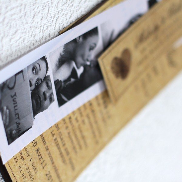 Extrêmement Faire part mariage photomaton vintage CT35