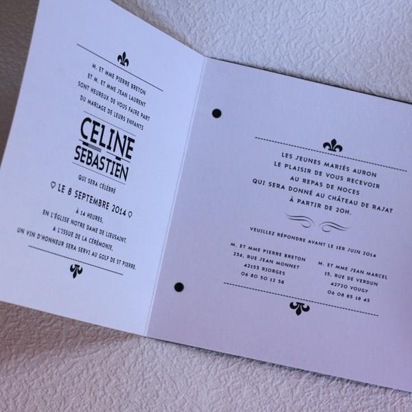 Préférence Faire part mariage art nouveau noir et blanc CU95