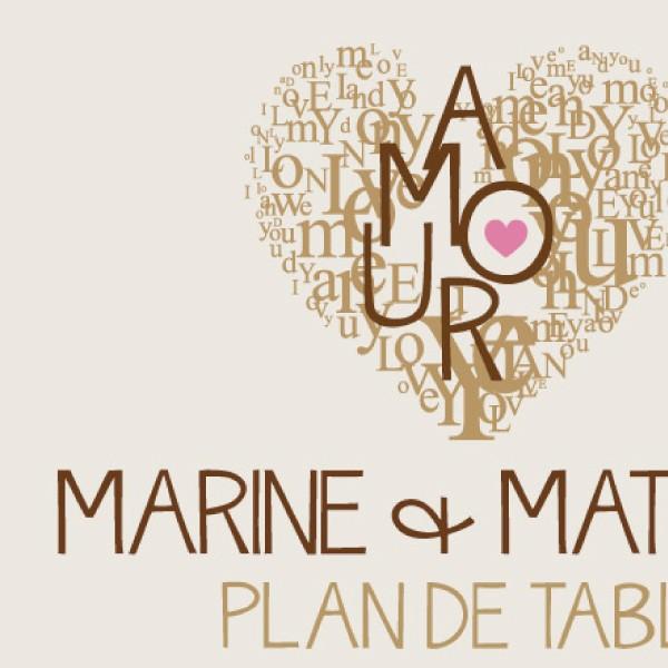 Plan de table vintage coeur - Plan de table coeur mariage ...