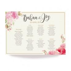 Plan de table aquarelle fleurs