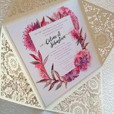 faire part mariage champêtre dentelle