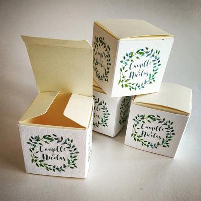 boite à dragée mariage feuille vert
