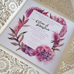 wedding invitation with photos and a vintage theme