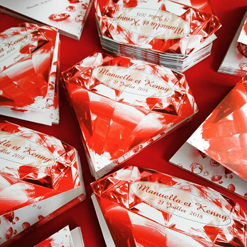 red diamond wedding invite
