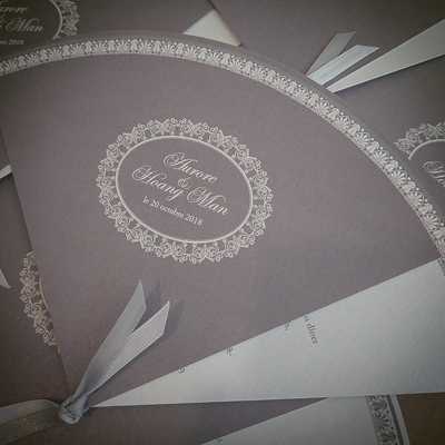 fan shaped wedding invite