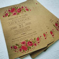 faire part mariage kraft champêtre fleurs