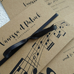 music themed stationery on craft paper