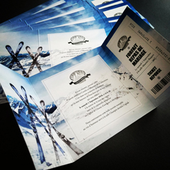 ski wedding invitation in blue