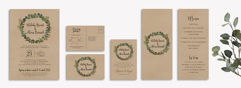 champetre kraft wedding stationery