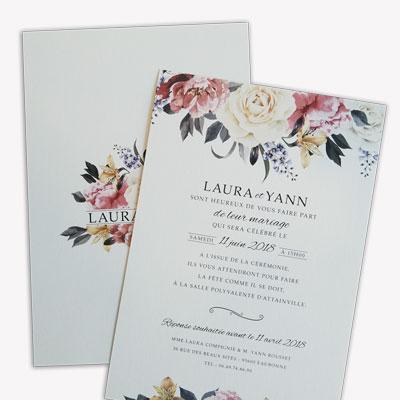 faire part mariage fleurs elegant rose