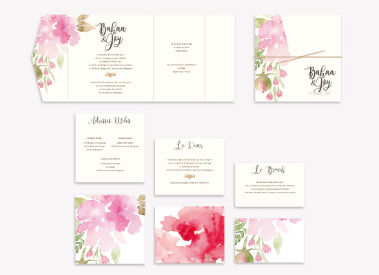 watercolour flowers wedding collection