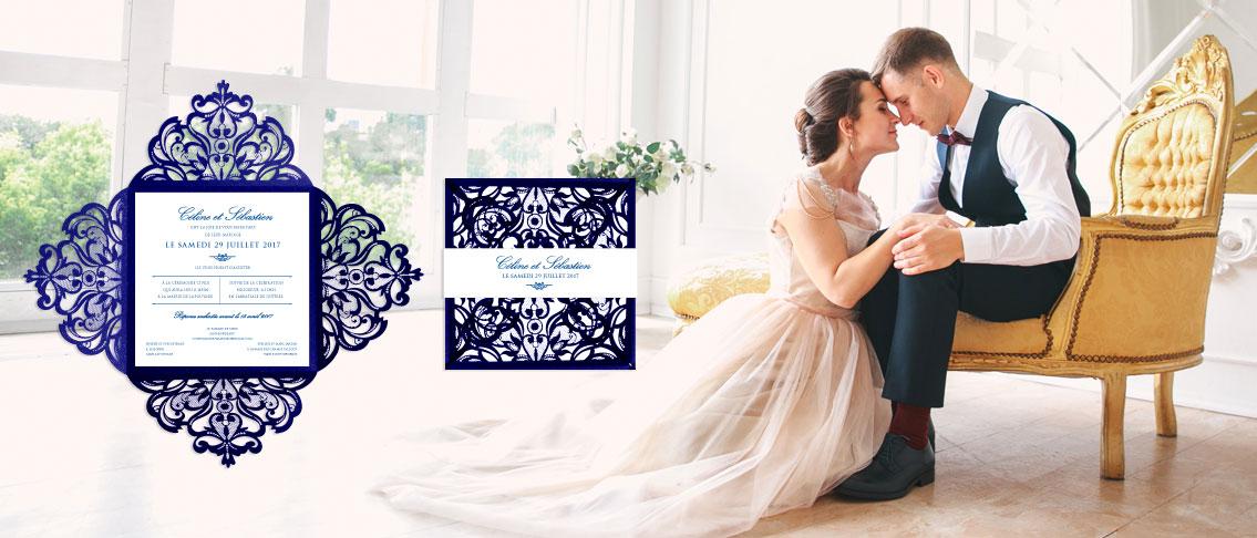 blue lace wedding invitation