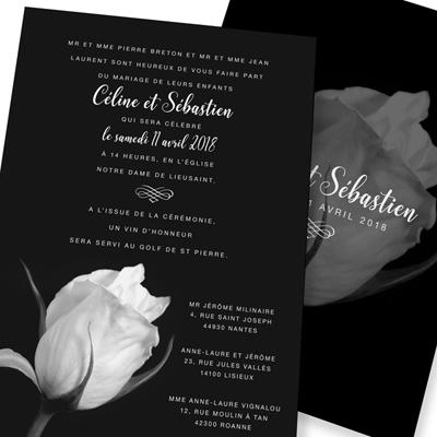 faire part mariage rose noir et blanc
