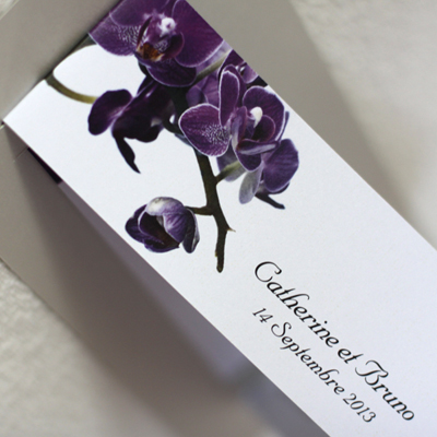 purple orchid wedding invitation