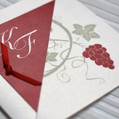 wine and vins wedding stationery