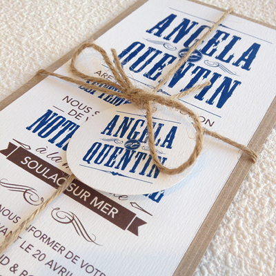 biarritz vintage wedding invite