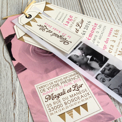 pink fanion vintage wedding invitation