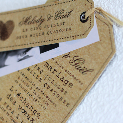 kraft vintage wedding invitation