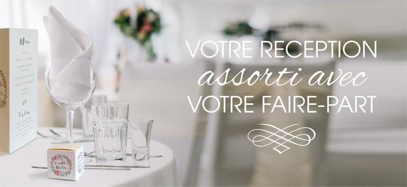 Réception mariage avec menus et dragée