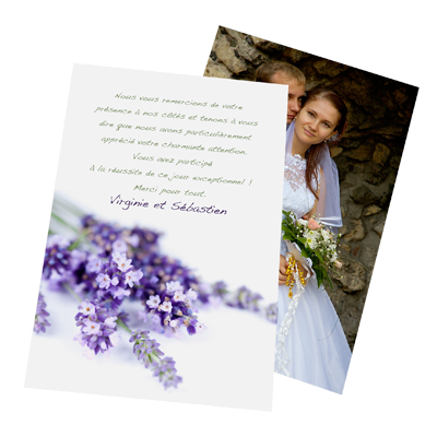 lavande cartes de remerciement mariage